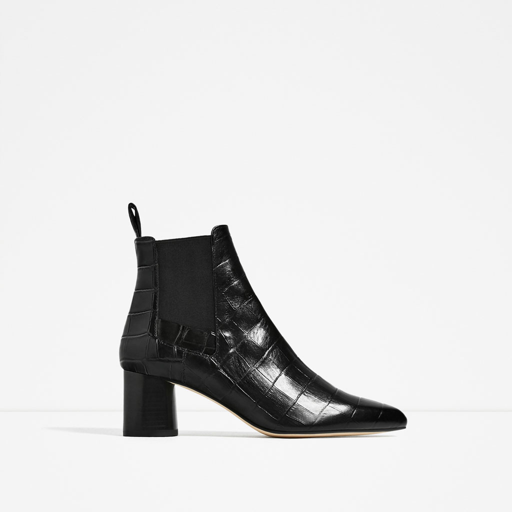 embossed leather ankle boots $120