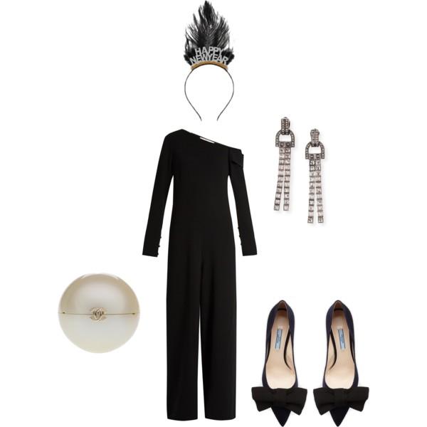 Tibi  jumpsuit,  Lanvin  tassel earrings,  Chanel  vintage pearl clutch,  Prada  pumps and  Target  Happy New Year headband.