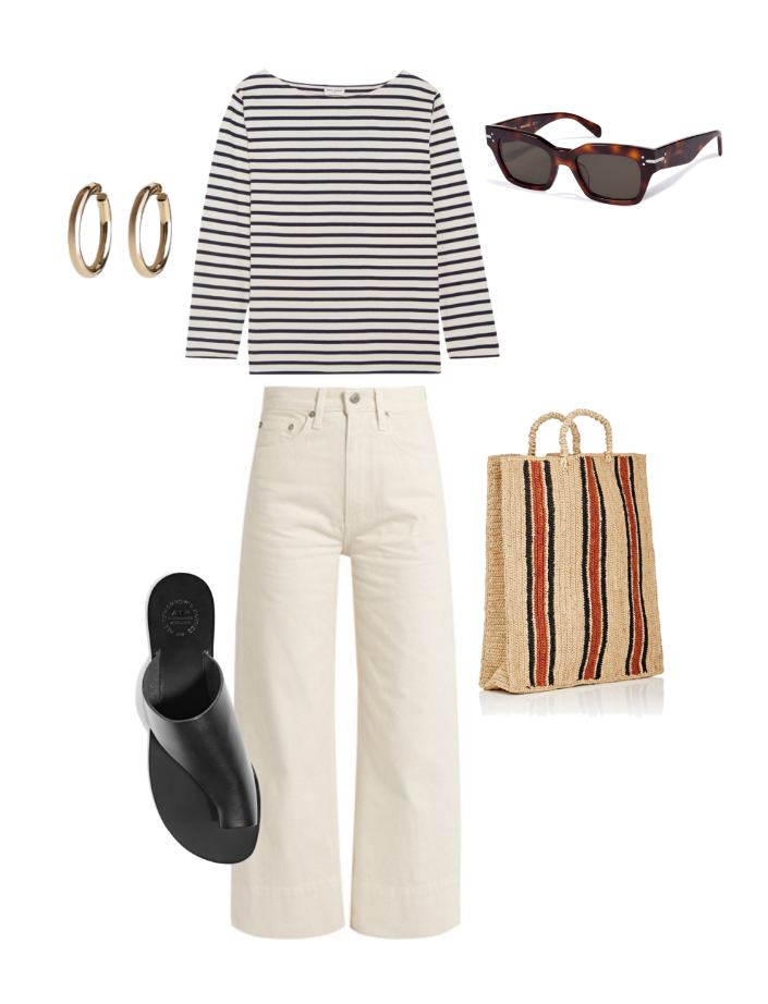 Saint Laurent  striped tee,  Brock Collection  denim,  Jennifer Fisher  hoop earrings,  Celine  sunglasses,  ATP Atelier  slides and  Souer  straw tote.