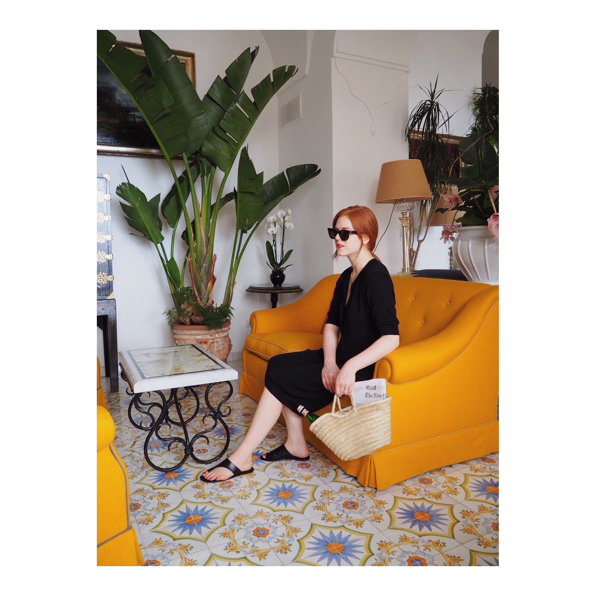 Toteme  knit dress,  Celine  sunglasses,  ATP Atelier  slides at Le Sirenuse