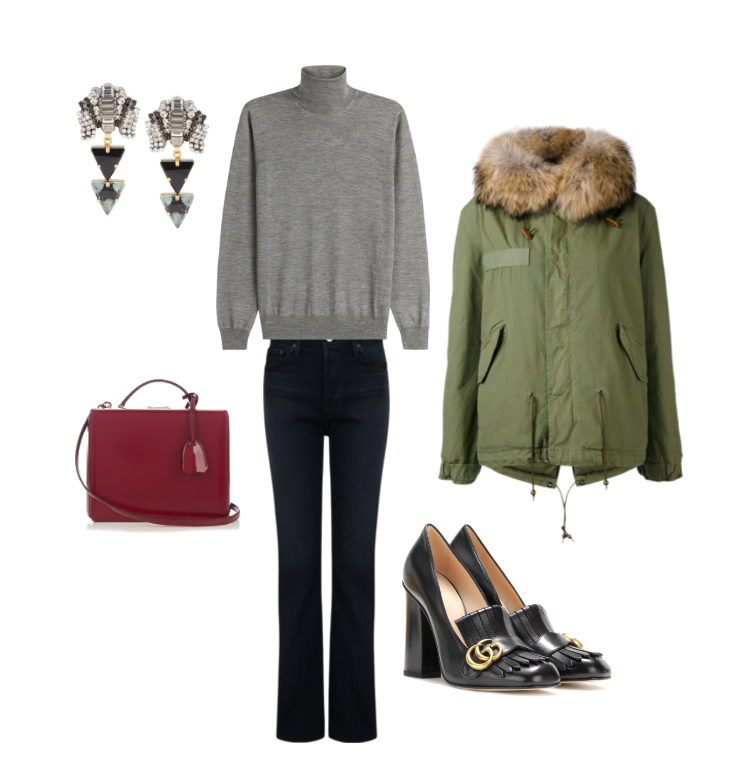 Jil Sander  knit,  Mr. and Mrs. Italy  parka,  Alexa Chung x AG  denim,  VICKISARGE  earrings,  Mark Cross  bag and  Gucci  pumps.