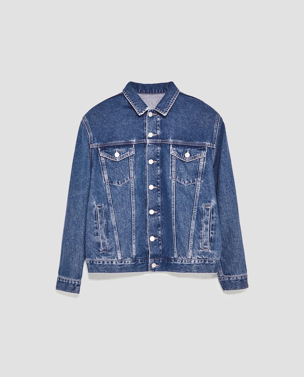 denim jacket with shoulder pads $70