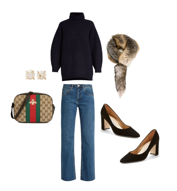 Acne Studios  navy sweater,  Raey  denim,  Dolce & Gabbana  fur scarf,  Manolo Blahnik  pumps,  Gucci  cross-body and  Melissa Joy Manning  pearl earrings.