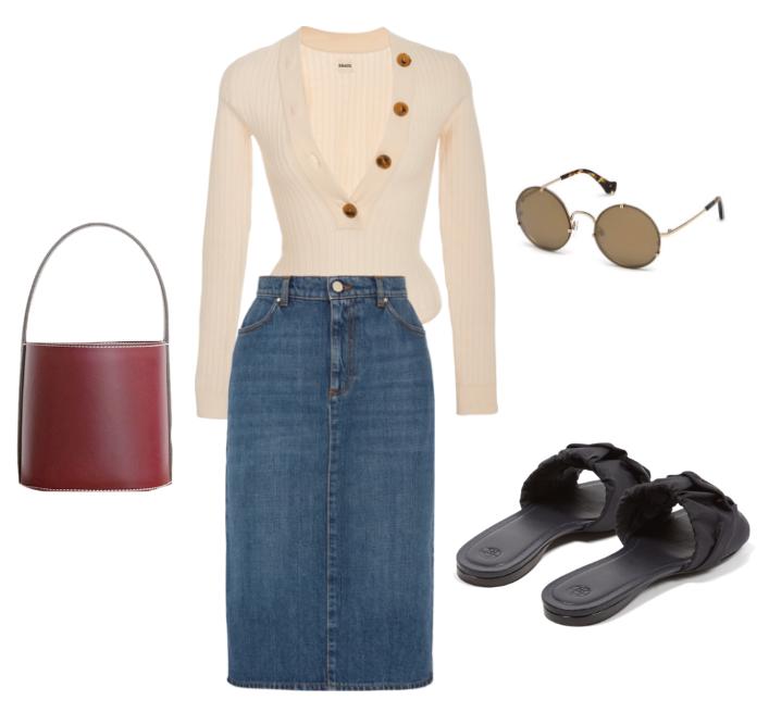 Khaite knit bodysuit ,  Alexa Chung denim skirt ,  Staud bucket bag ,  The Row slides  and  Balenciaga round sunglasses.