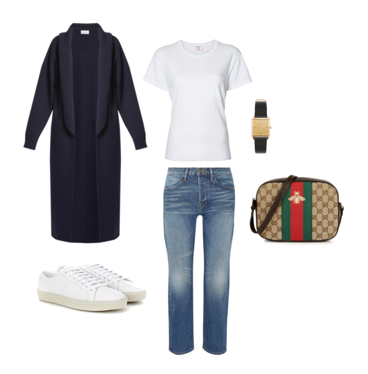 Raey  cardigan,  Levi's Re/Done  tee,  Frame  denim,  Isabel Marant  watch,  Gucci  cross-body and  Saint Laurent  sneakers.