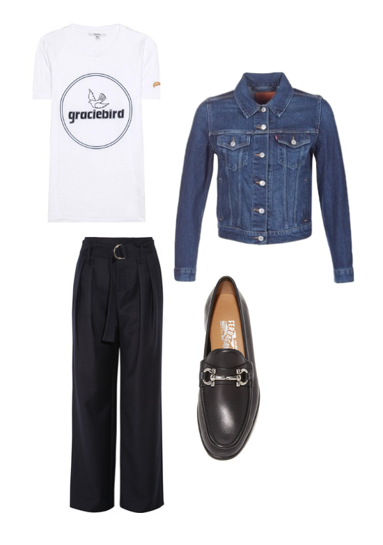 Levi's  denim jacket,  Ganni  t-shirt,  Frame  trousers and  Ferragamo  loafers.