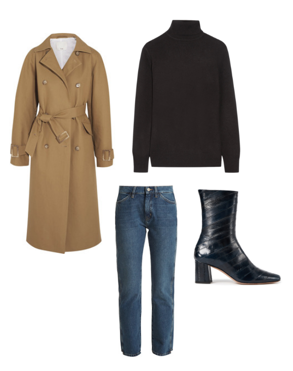 Tibi  trench coat,  Equipment  turtleneck,  MIH  jeans and  Trademark  ankle boots.