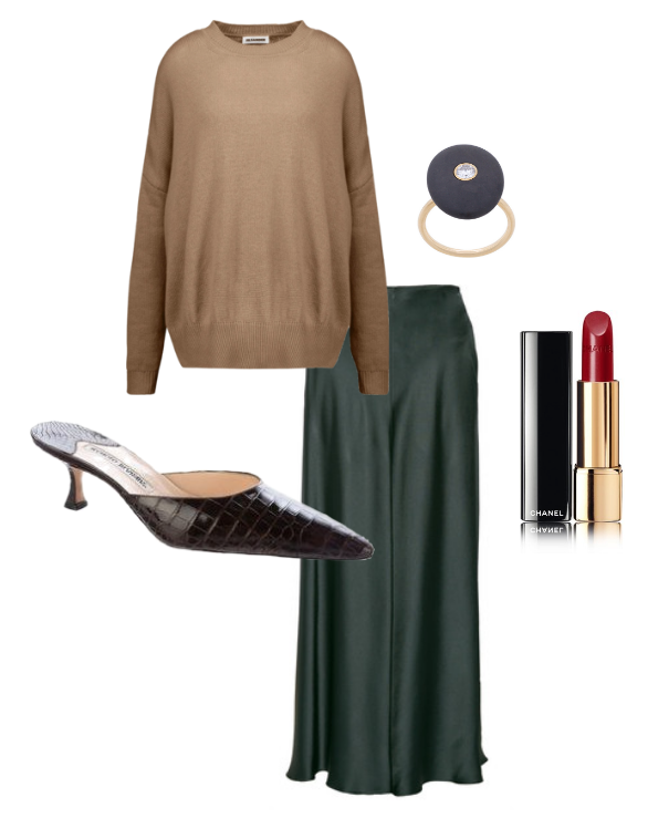 Jil Sander  cashmere sweater,  The Row  midi skirt,  Manolo Blahnik  mules,  CVC  ring and  Chanel  lipstick.