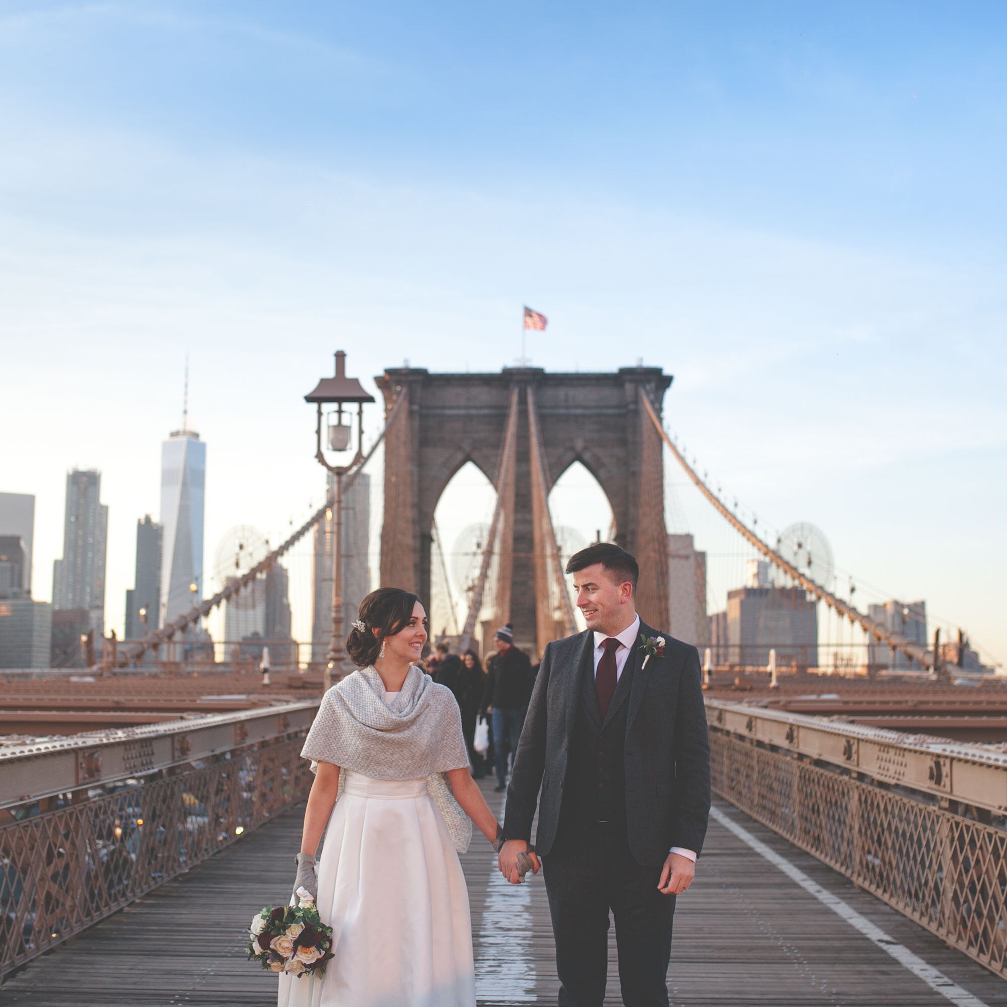Irish Detination Wedding. New York. Brooklyn Bridge.