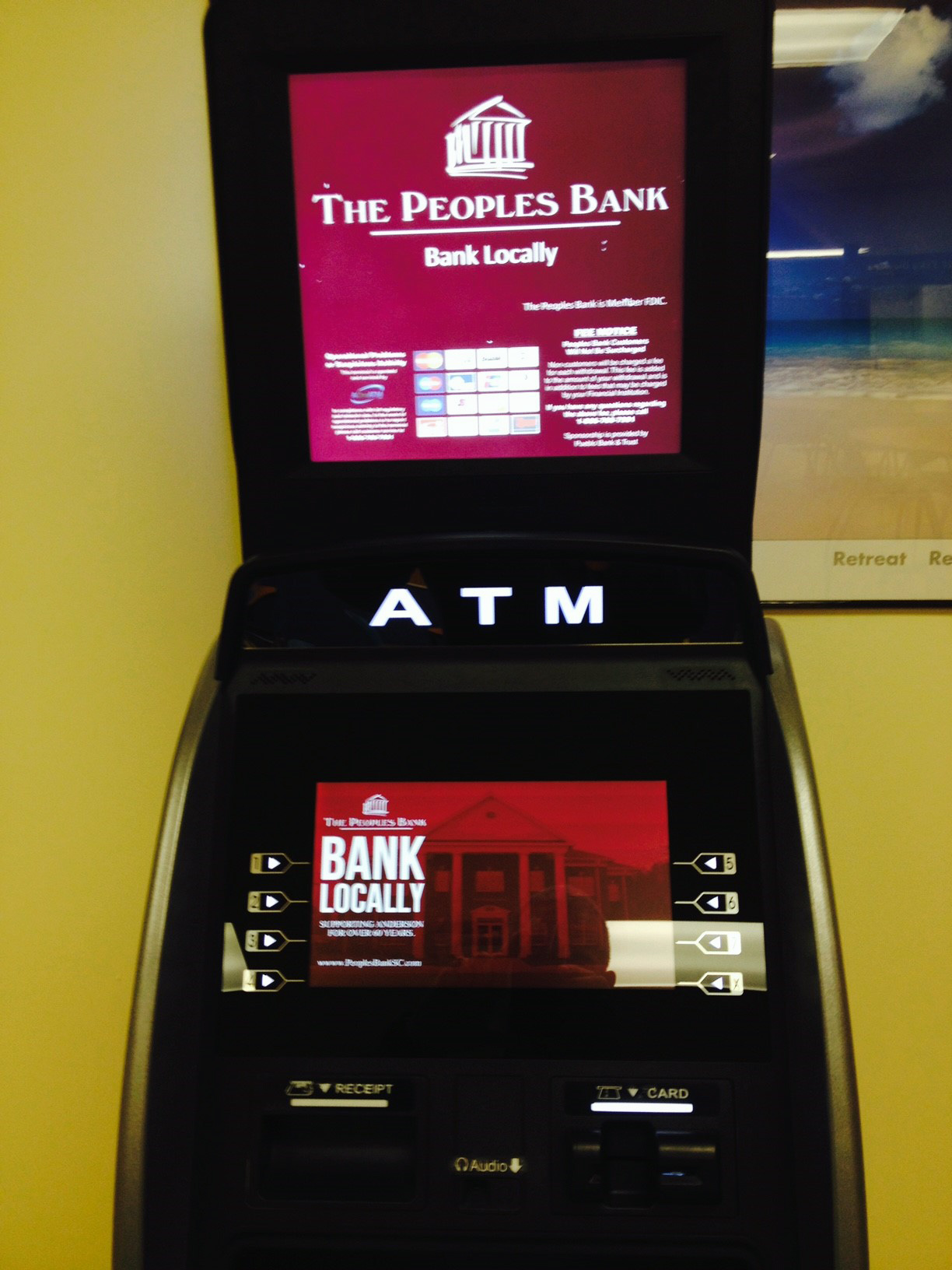 The Peoples Bank Close Up of Screen & Topper
