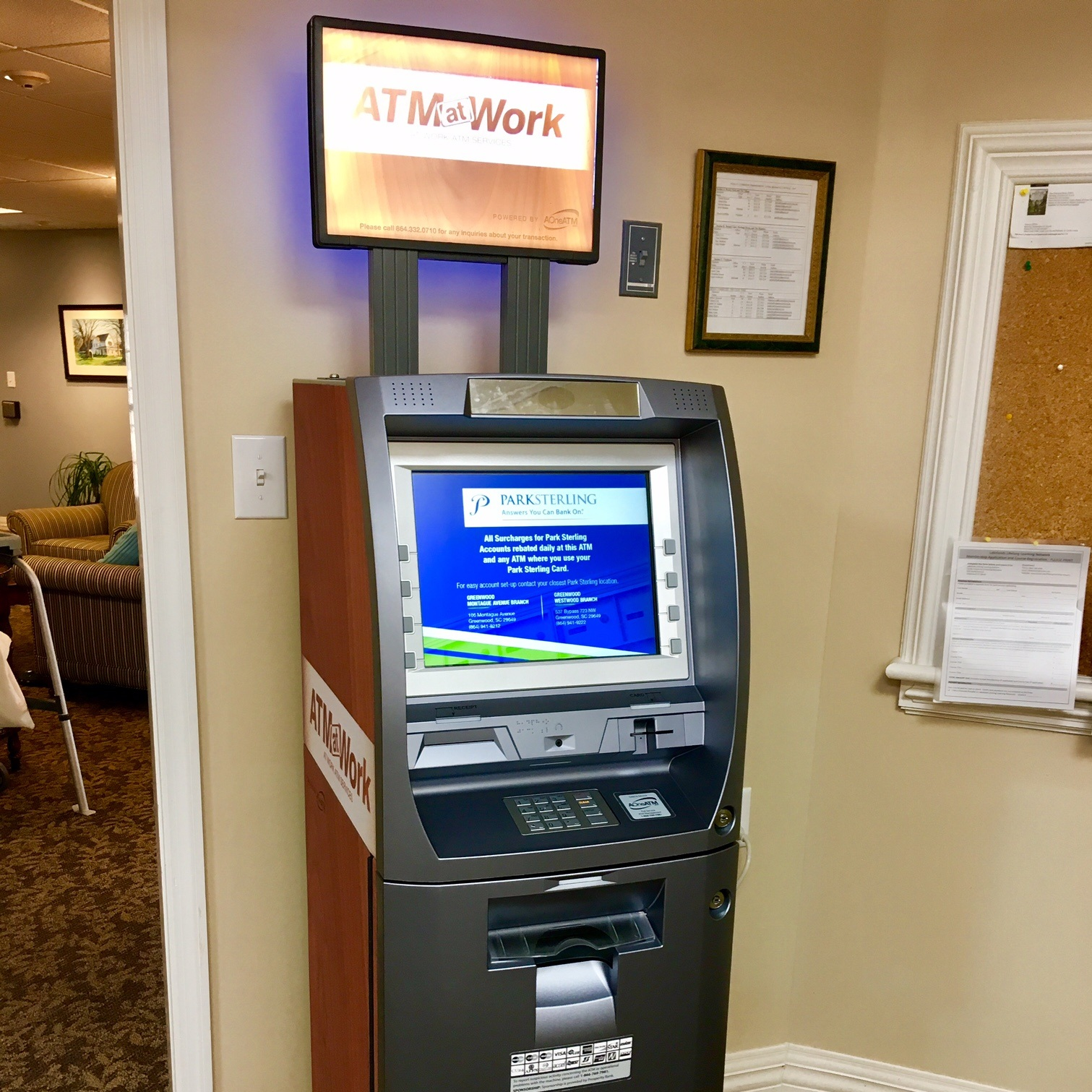 Employee Lounge ATM with faux wood grain