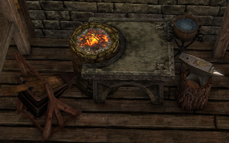 Blacksmithing Station - Used to forge weapons and armor from metal and wood materials. In addition, used to repair and salvage materials from weapons and armor.
