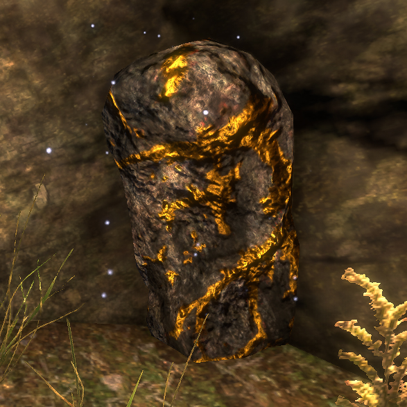 Gold Ore - Raw material used to create Gold Ingots. Can be found while adventuring or in Mines.