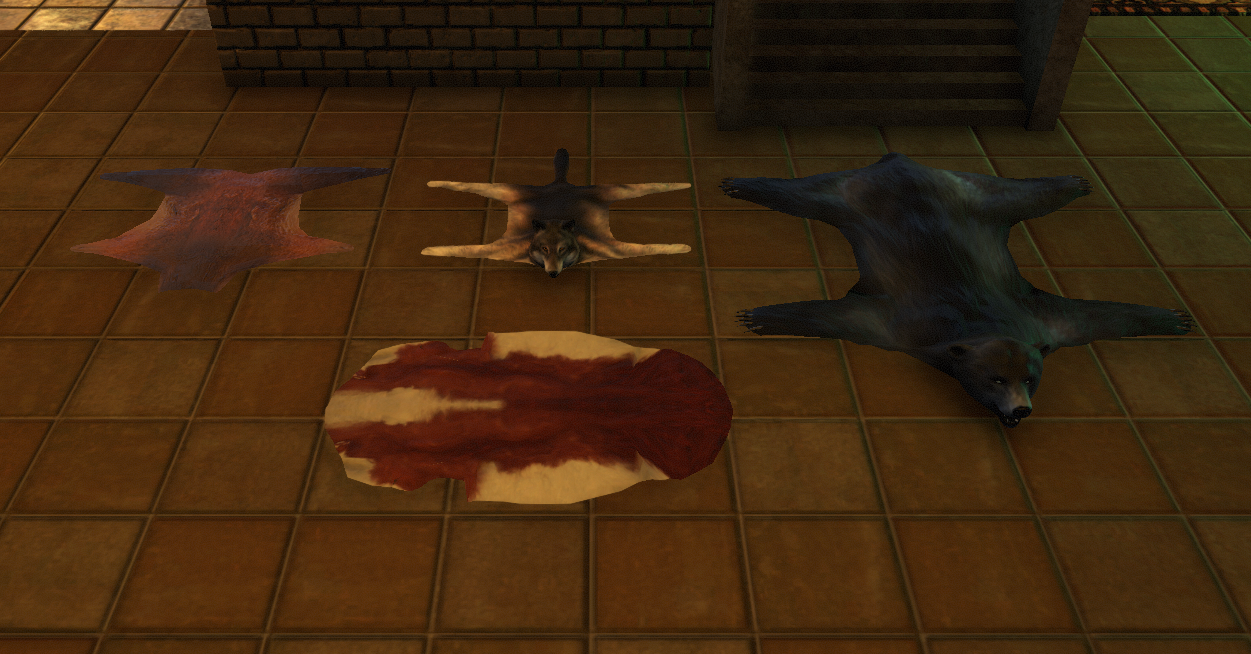 Animal skin rugs (from left to right; deer, timber wolf, cow, obsidian bear)