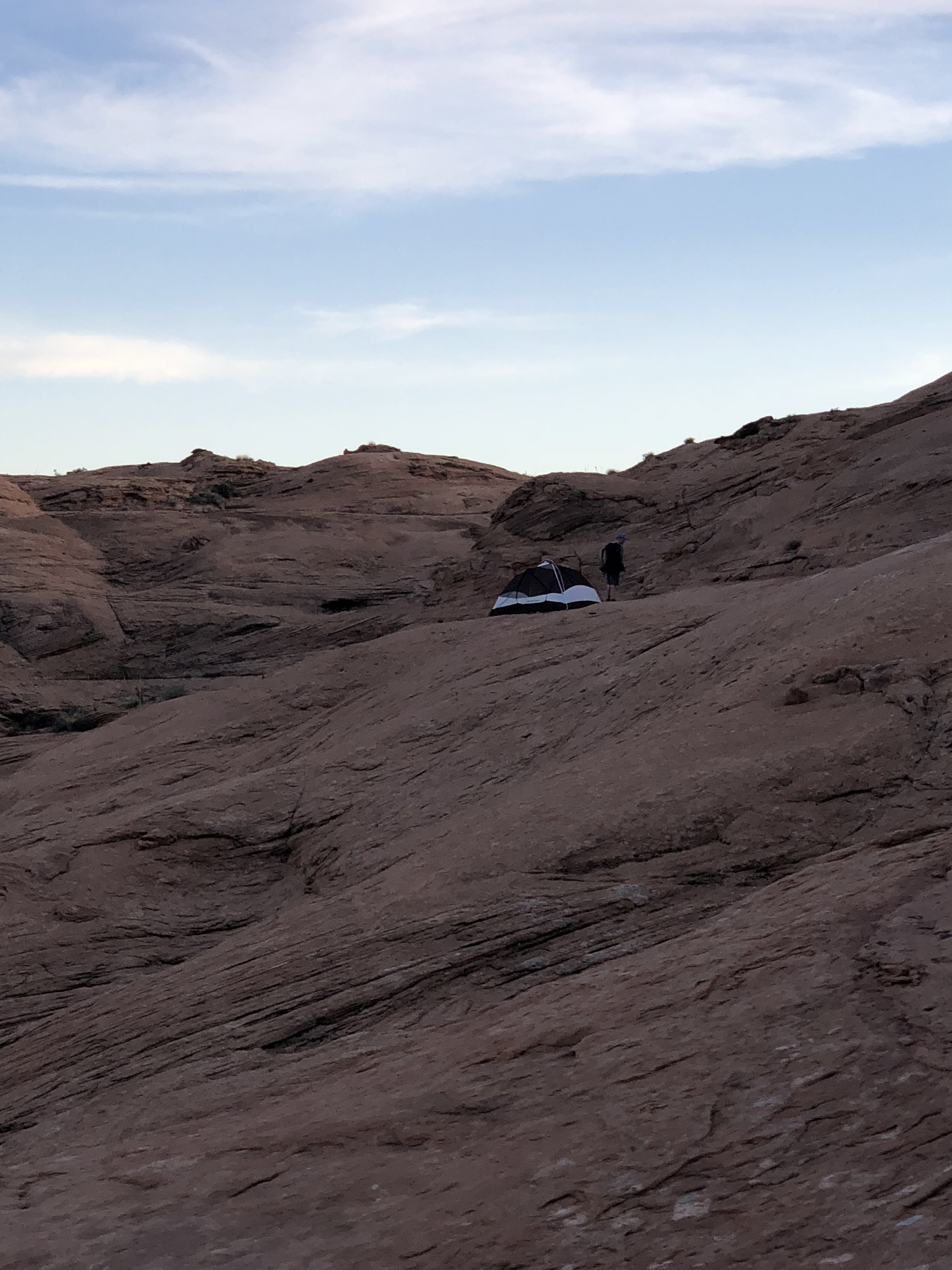 Here is a visual of our campsite on a flat portion of the rock face!