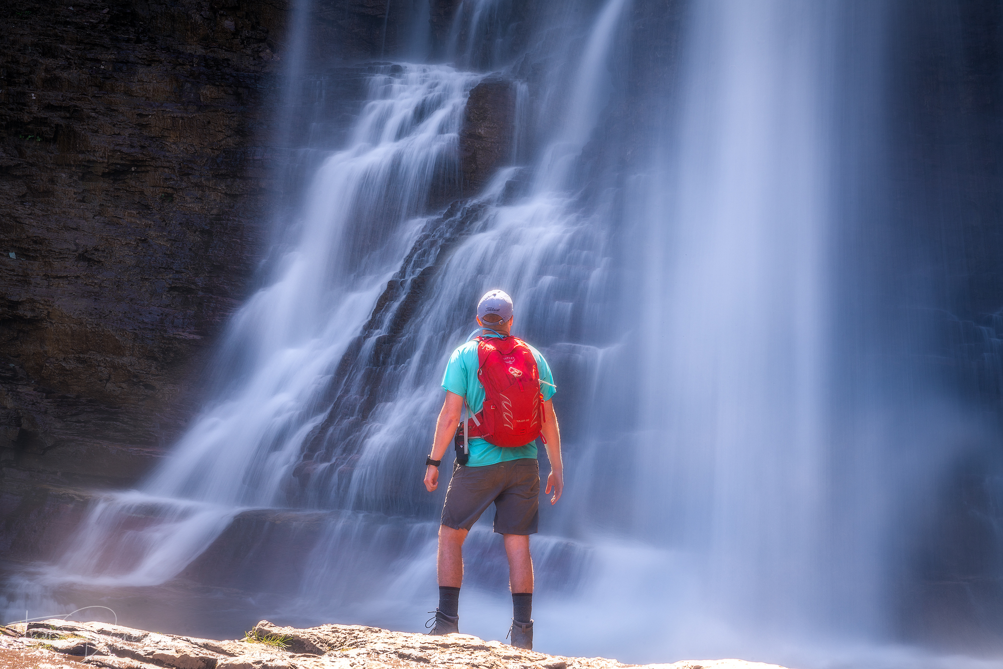 My friend Ben ( @bentretow ) takes in the view of Virginia Falls