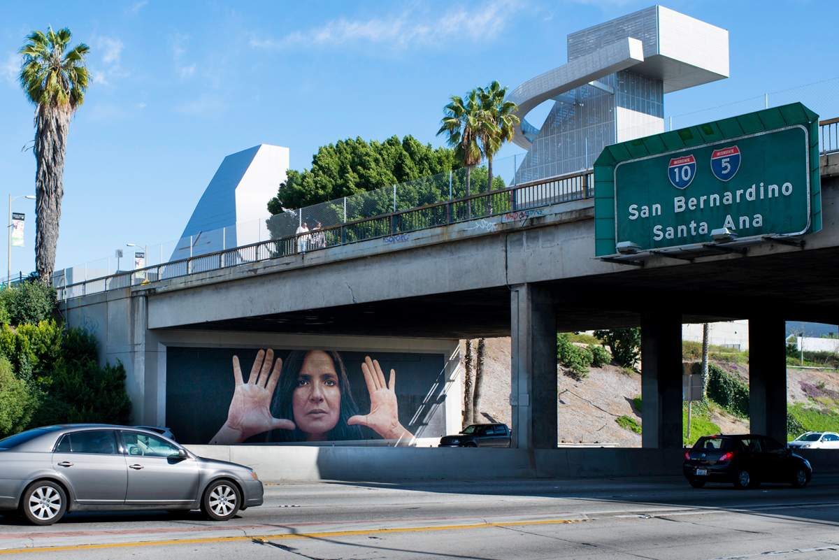 "Kent Twitchell's ""Lita Albuquerque Monument"", Los Angeles. One of the restored LA '84 murals, on the 101 Freeway at 7th Street."