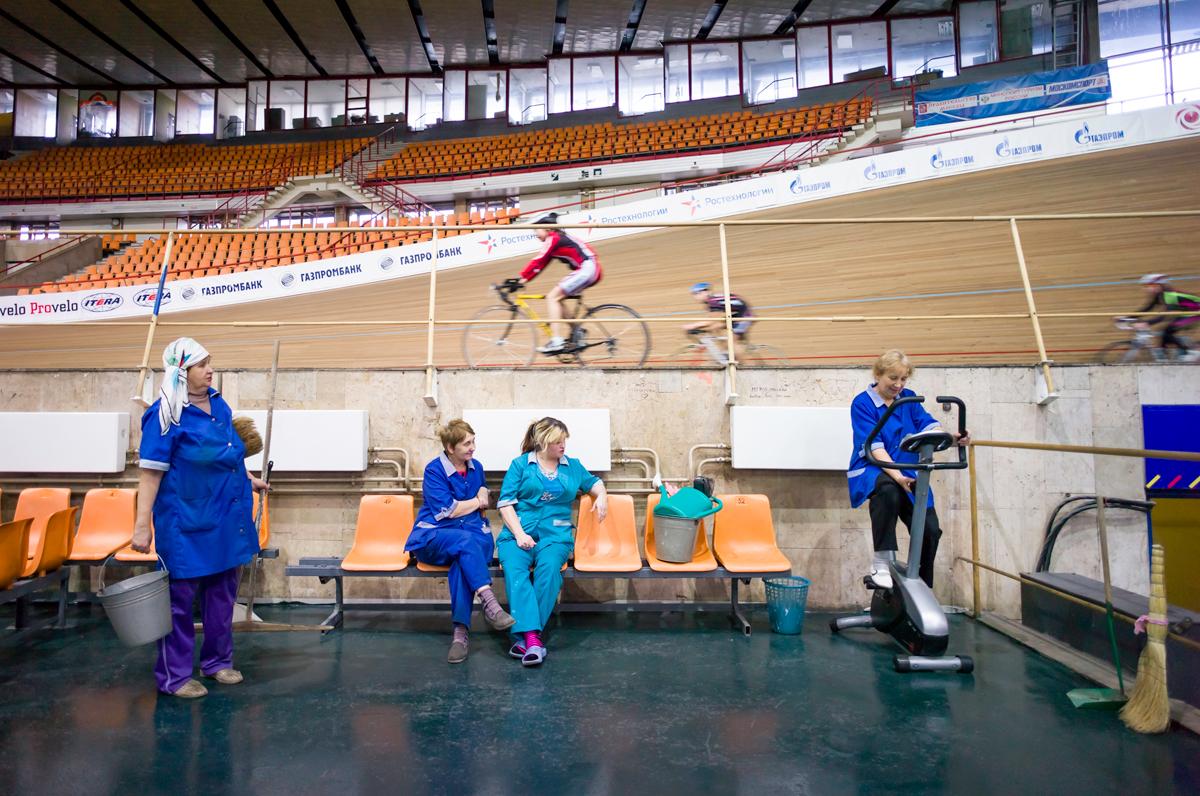 Cleaning Women on a Break, Krylatskoye Sports Complex Velodrome, Moscow.