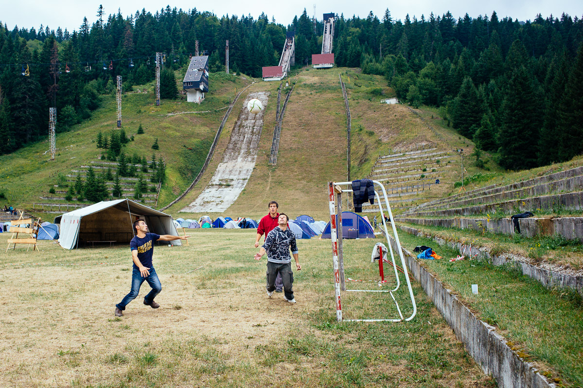 Football at the Base of the Olympic Ski Jumps, Igman Mountain, Sarajevo
