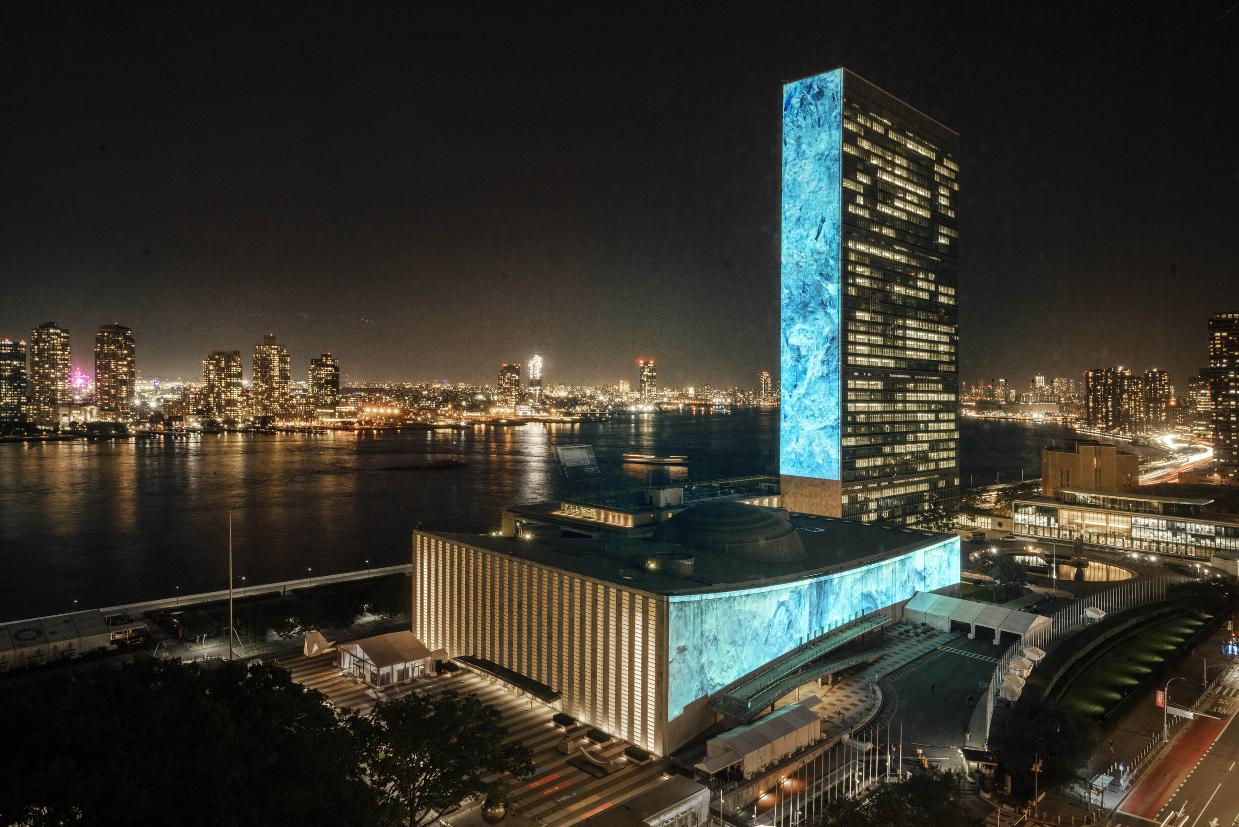 Voices for the Future - Ahmed joined Greta Thunberg and four youth advocates in an audiovisual installation on the UN Complex.