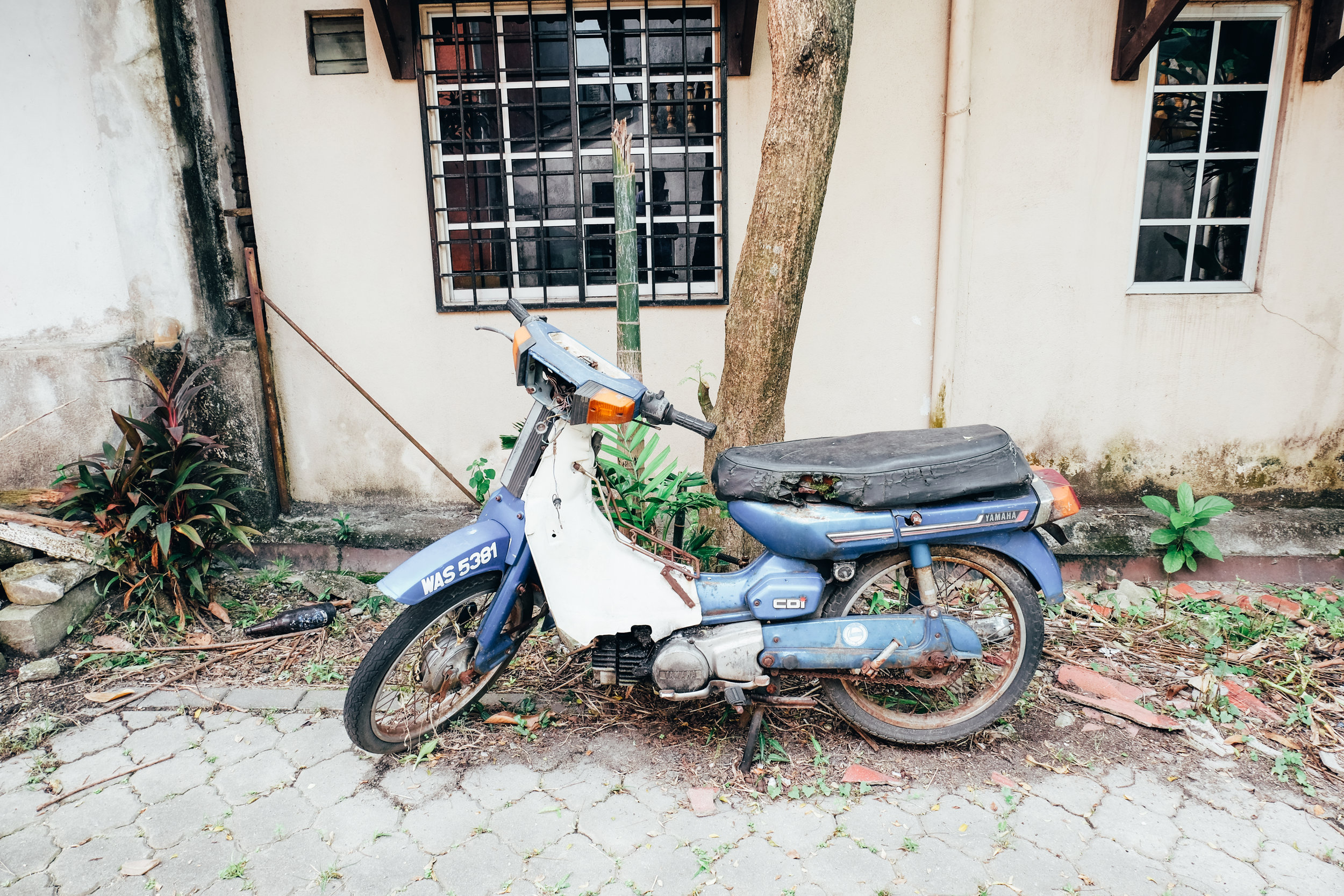 an abandoned motorcycle.