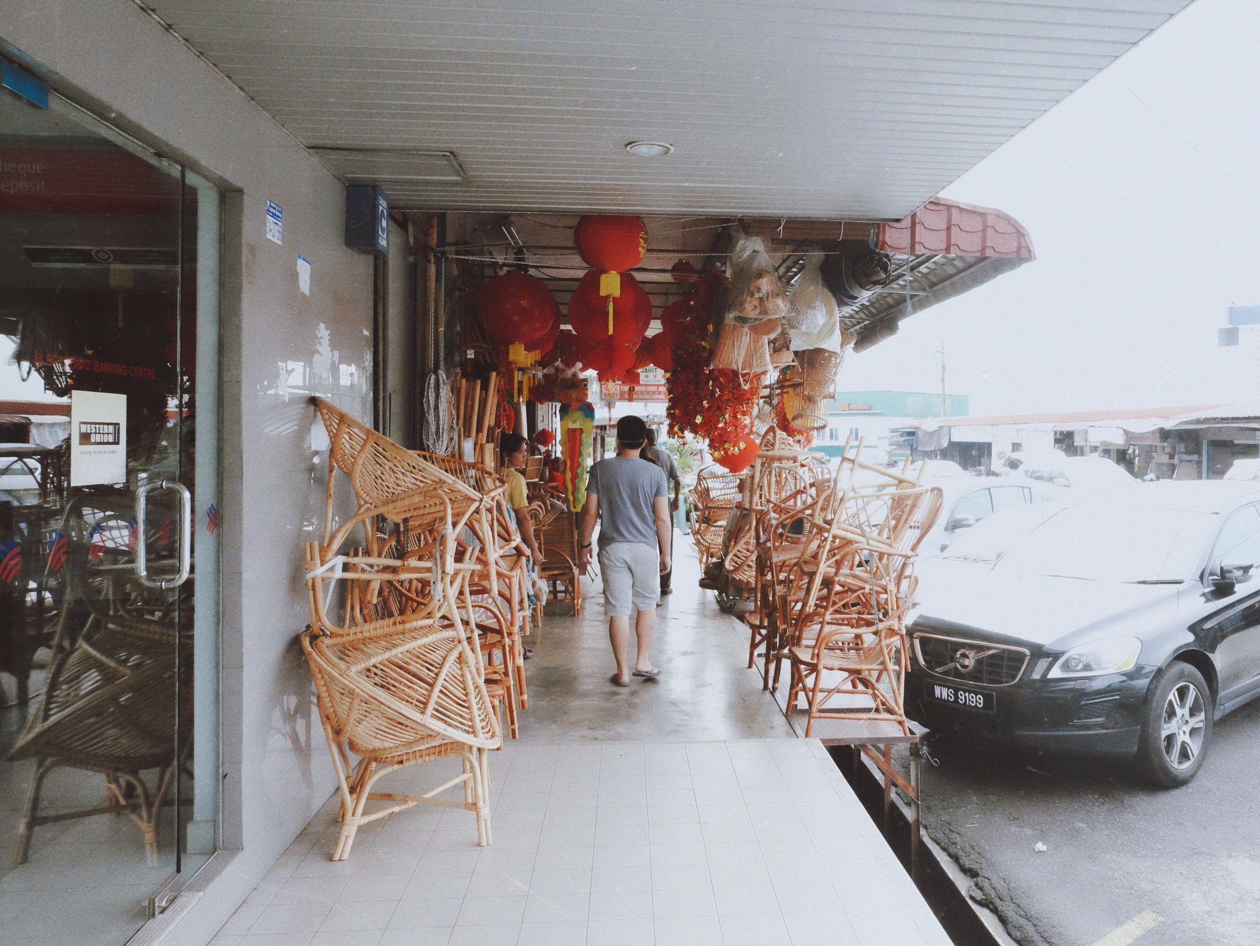 a store selling traditional rattan chairs.