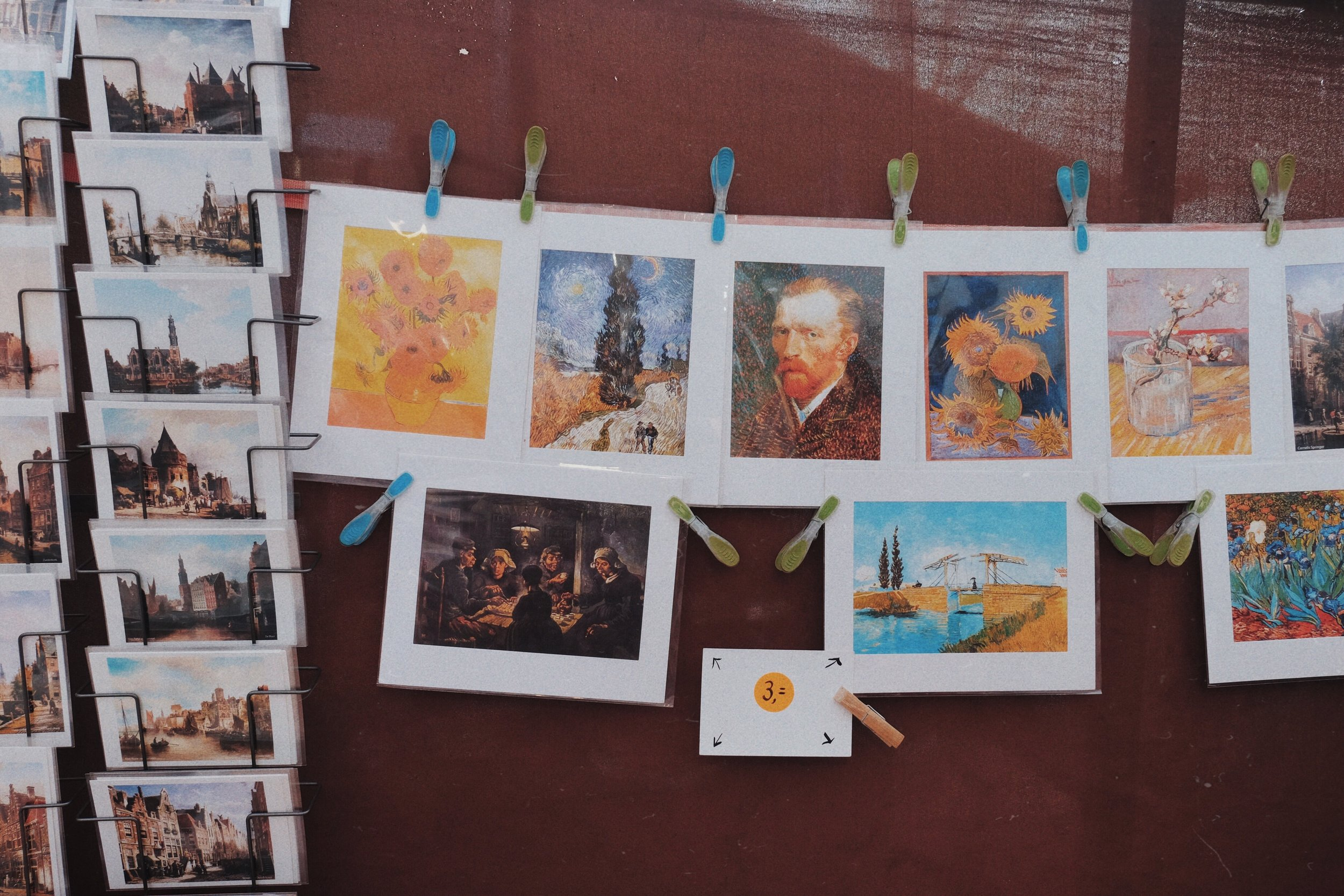 postcards and prints featuring Vincent van Gogh's famous works.