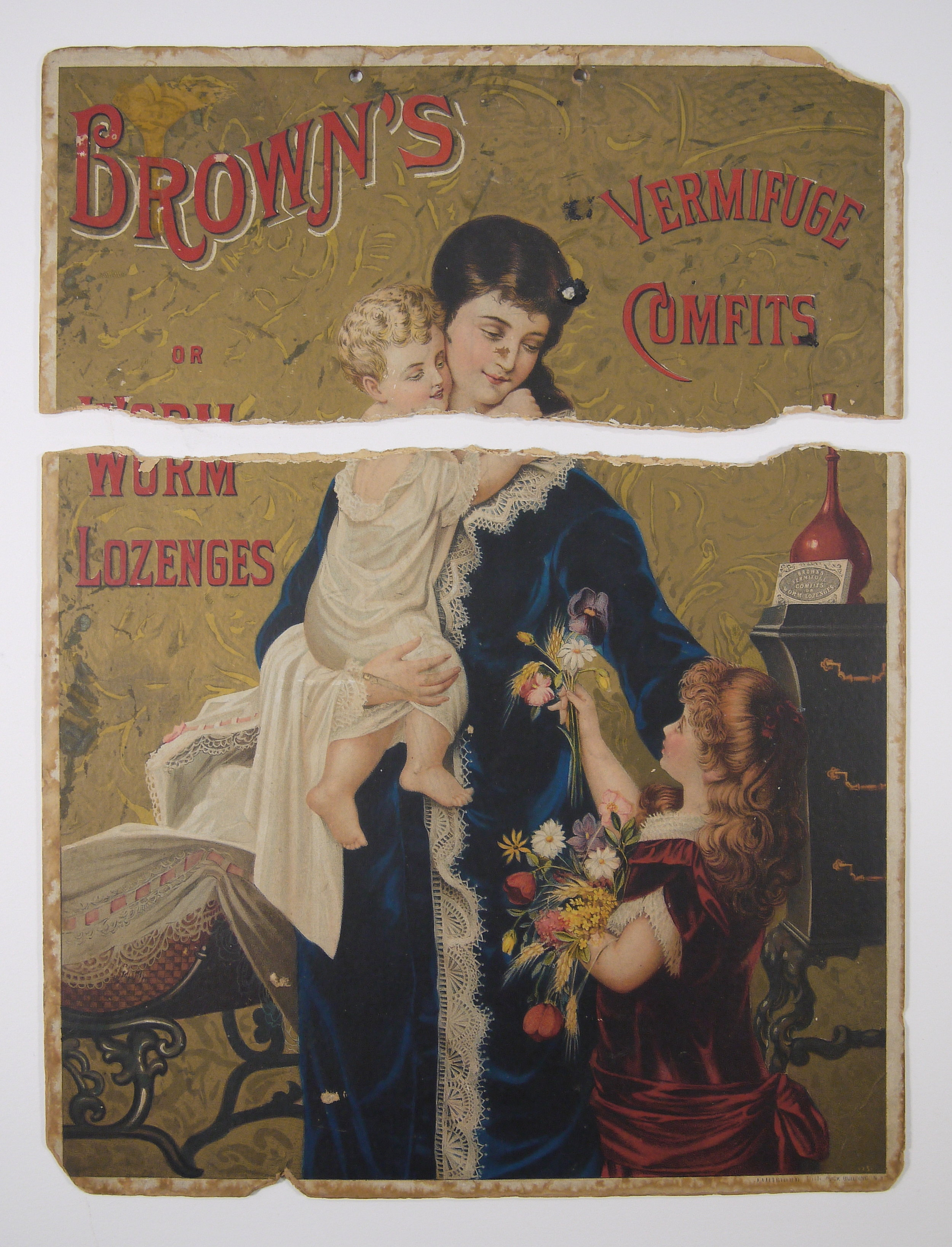 Brown's Vermifuge Comfits advertising poster board, c. 1860's. Recto showing chromolithograph print.