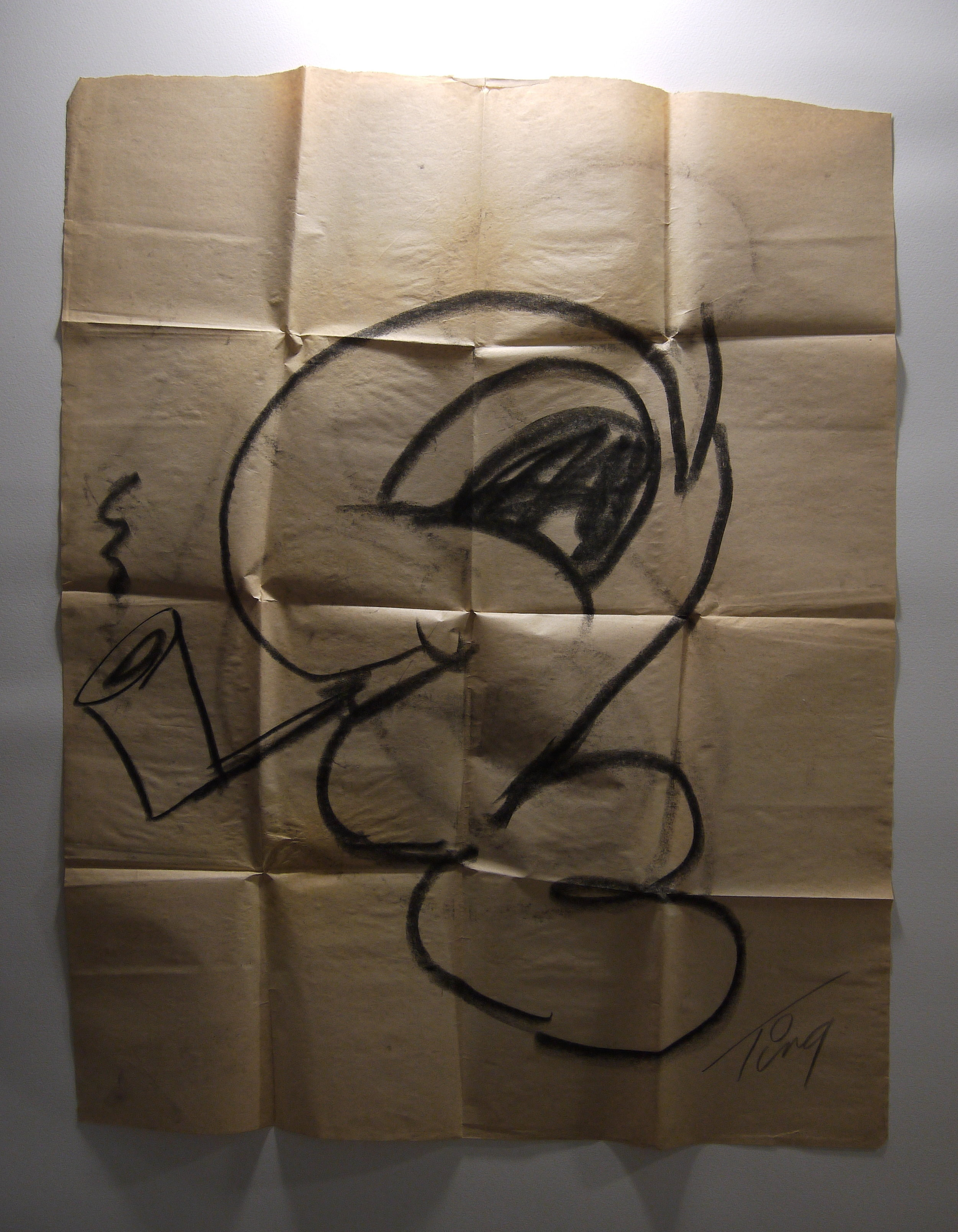 Luke Worm  sketch in raking light, showing creases.