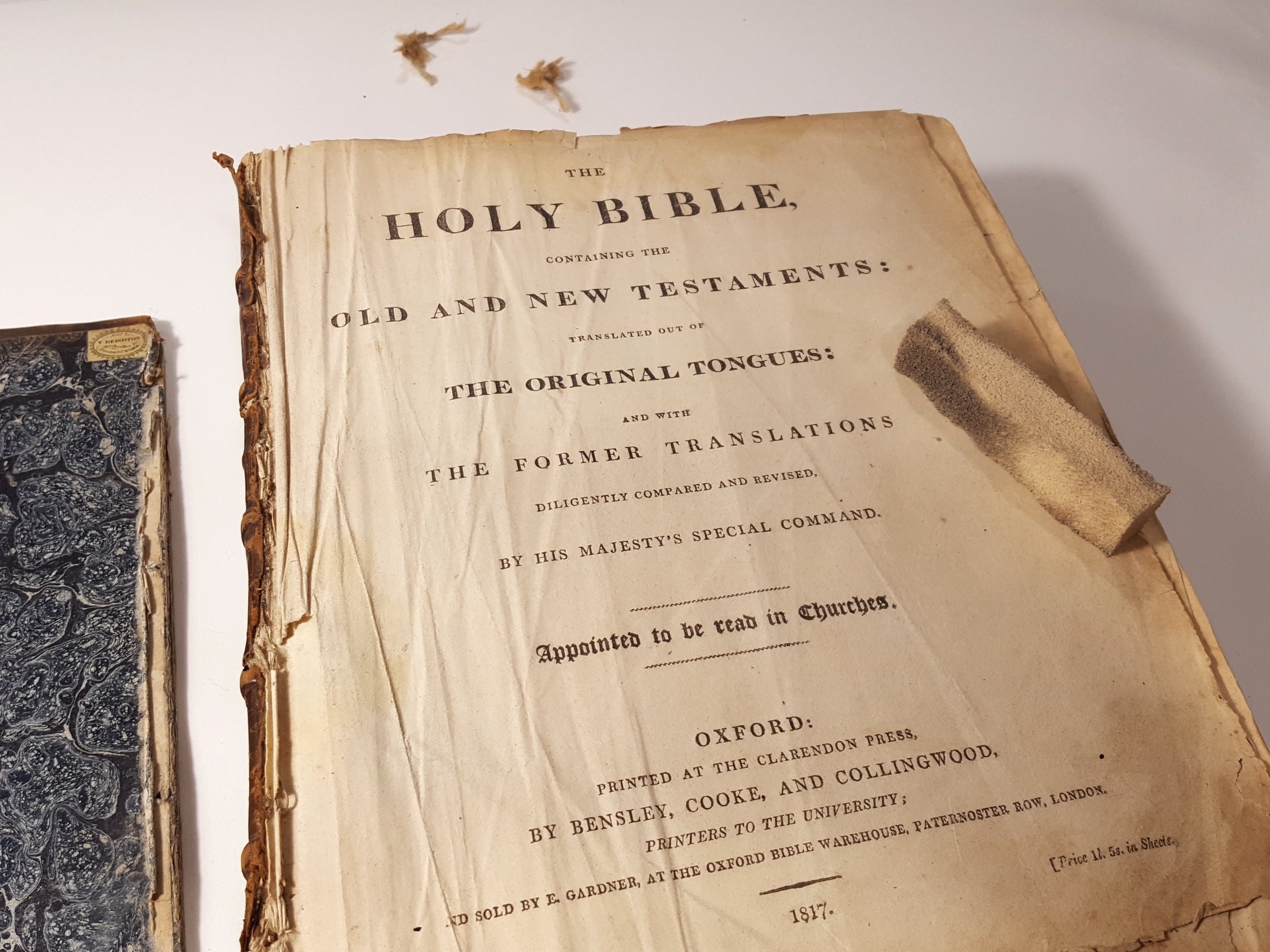 Surface cleaning grime from the Bible's title page.