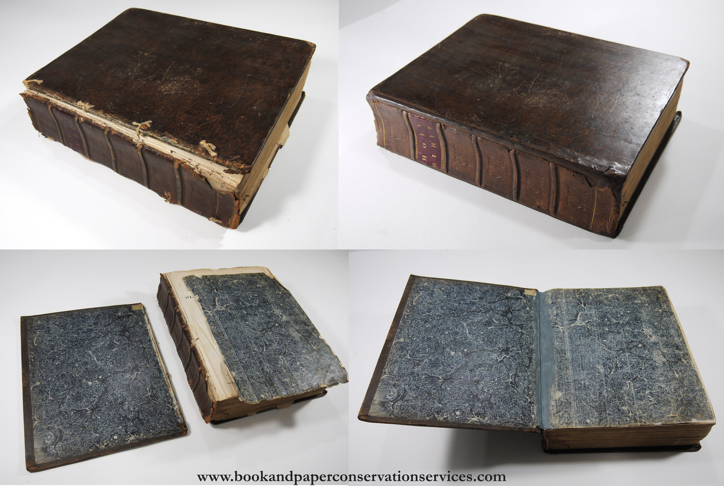 Family Bible before and after conservation treatment.