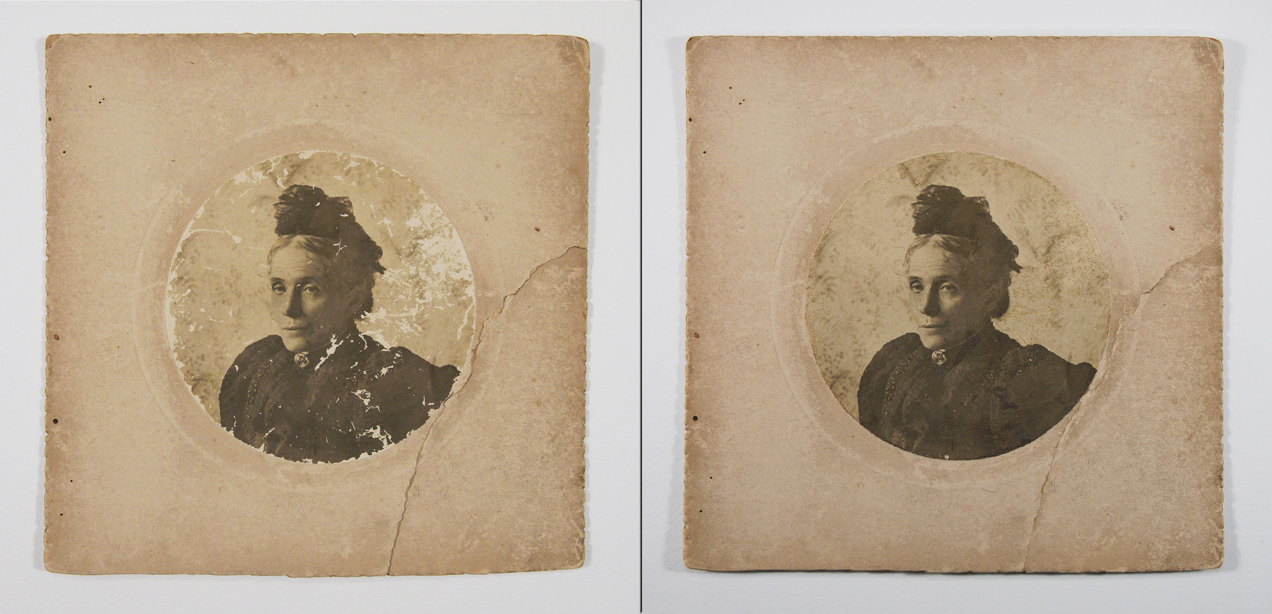 Antique family photograph before and after conservation treatment.
