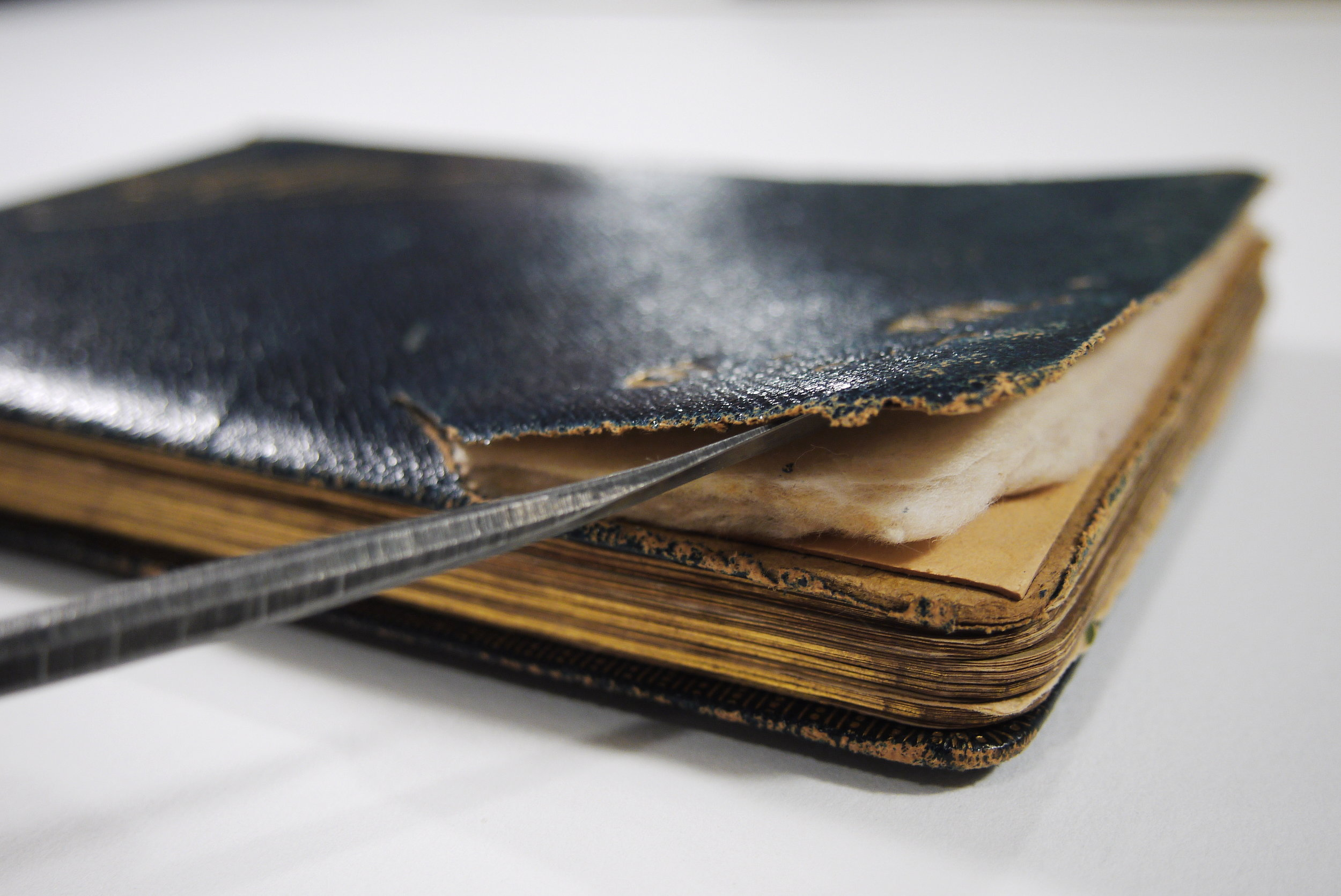 The binding of the album presents damage - the leather is cracked and the interior of the padded front cover is exposed.