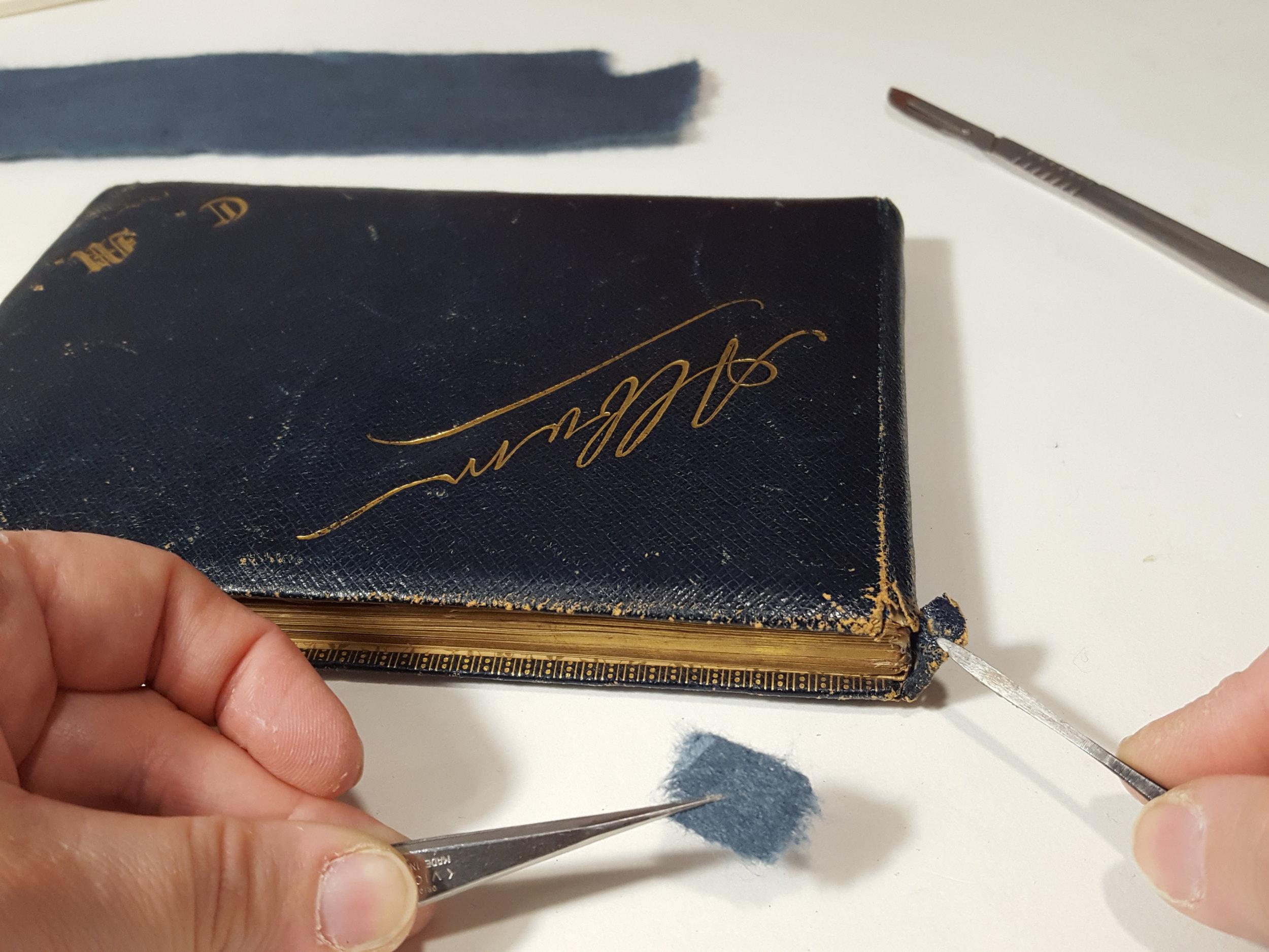 Repair to headcap of the album's leather binding.