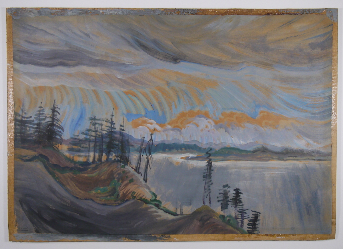 Shore Scene with Sunset , by Emily Carr Oil on paper, 39.5 x 58.3 (HxW)  Before Conservation Treatment
