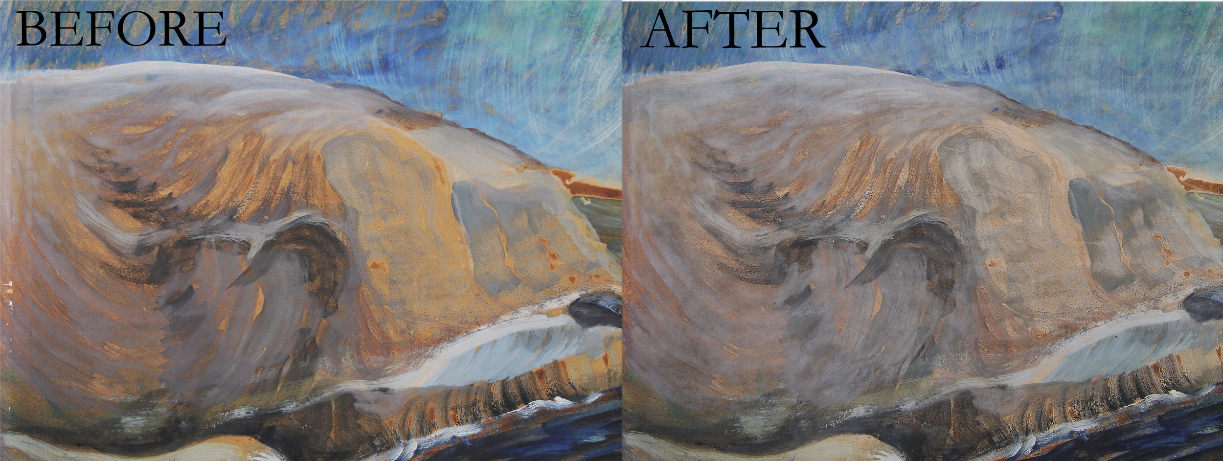 Sea and Skyscape  by Emily Carr - detail, before and after cleaning.