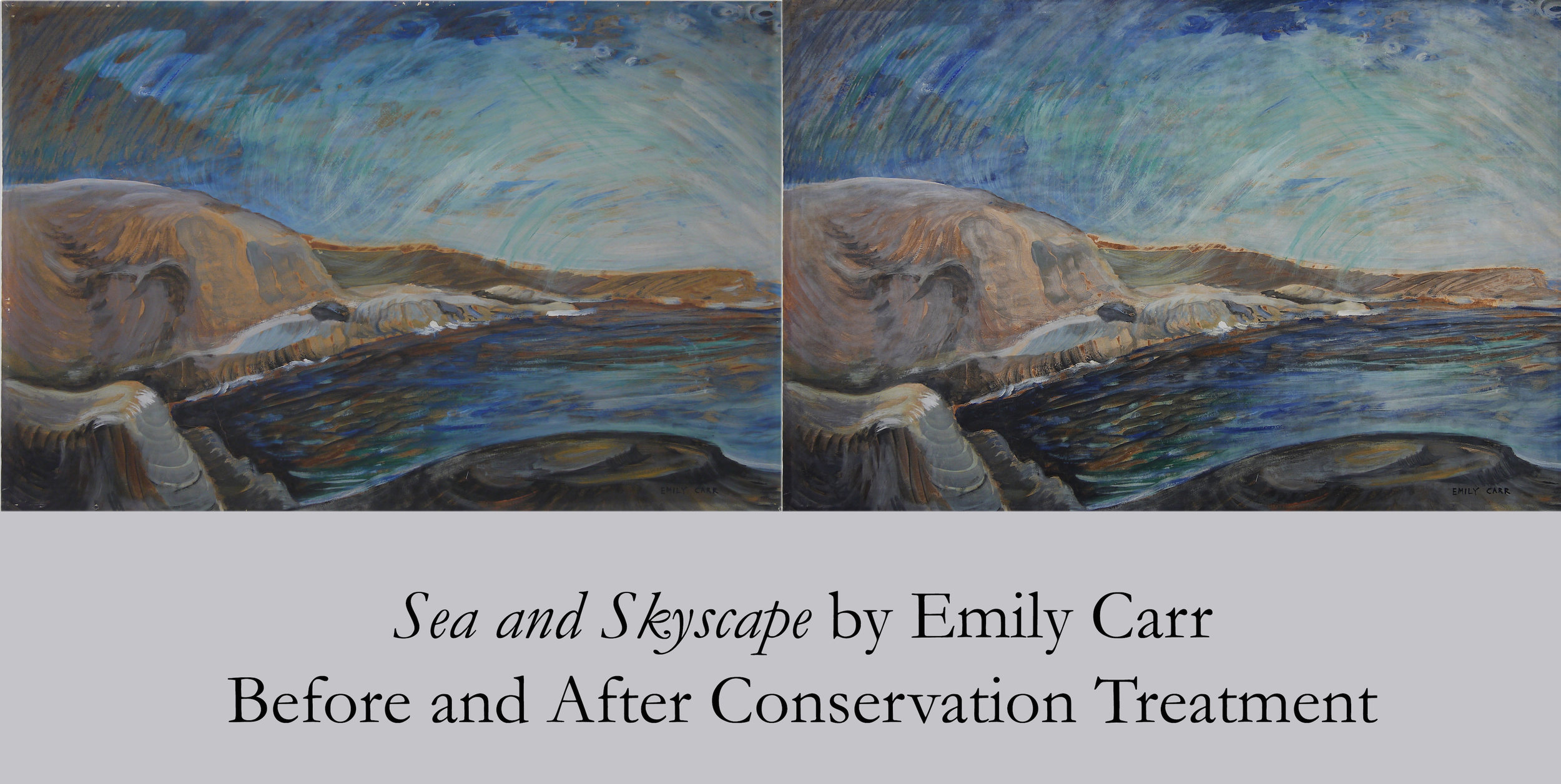 Sea and Skyscape by Emily Carr - Before and After Conservaton