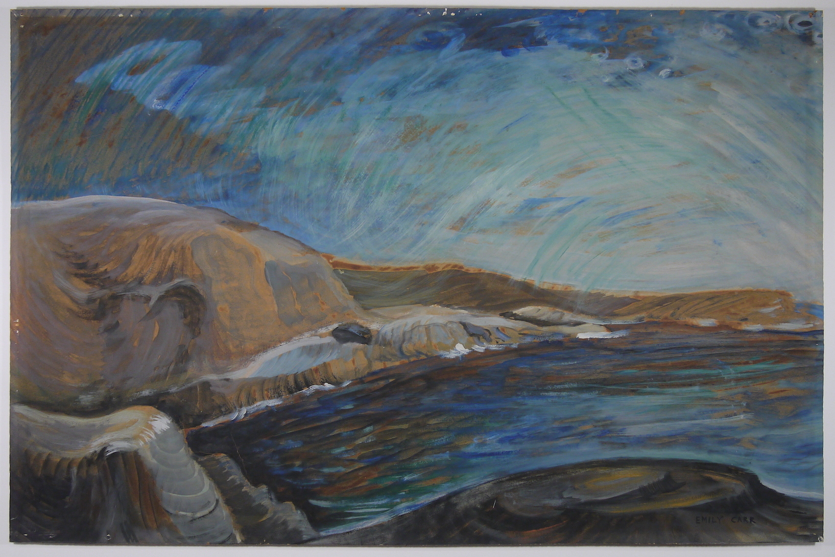 Sea and Skyscape , by Emily Carr         Oil on paper, 57.5 x 87.9 (HxW) Before Conservation Treatment