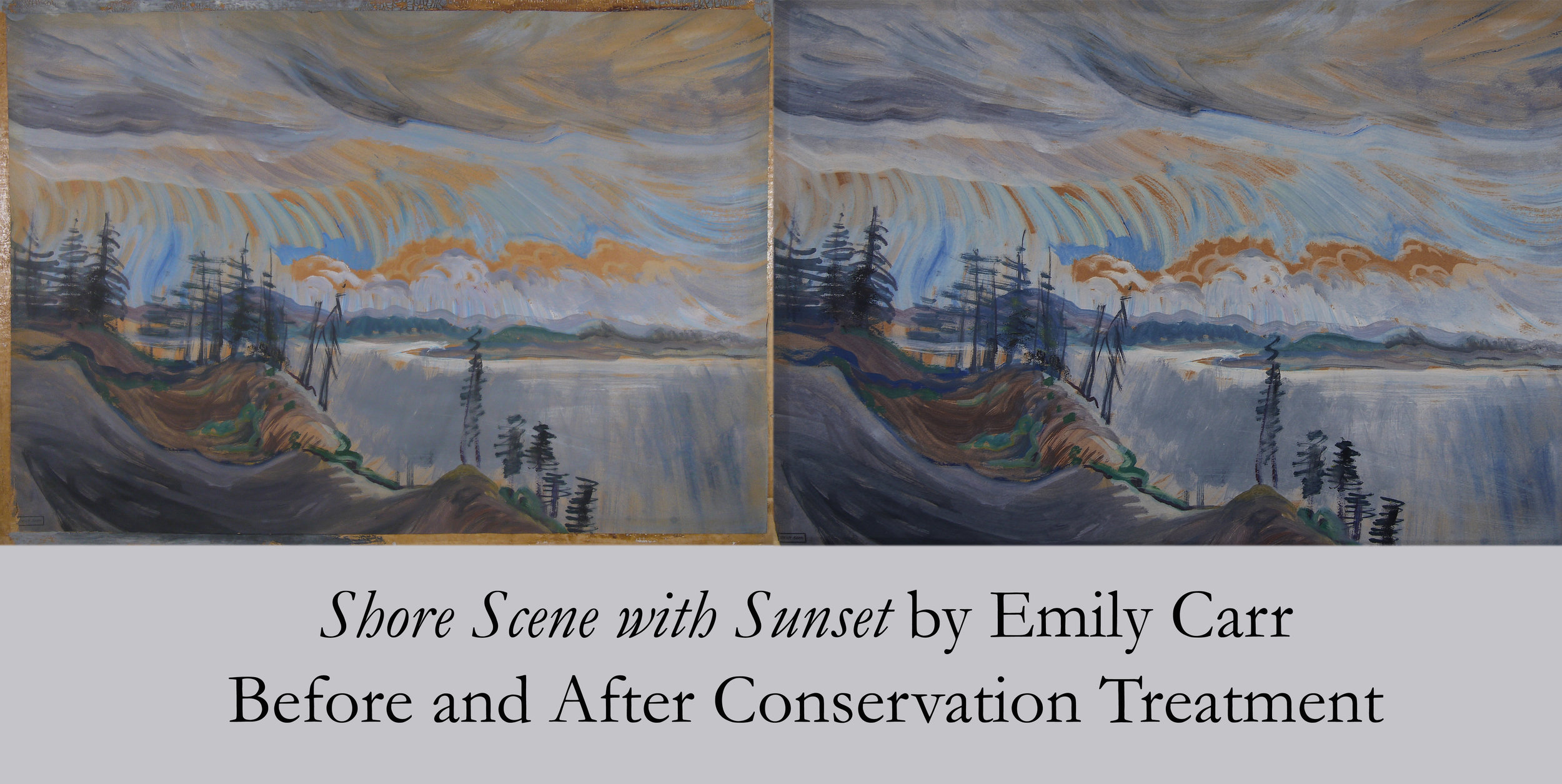 Shore Scene with Sunset by Emily Carr - Before and After Conservation Treatment