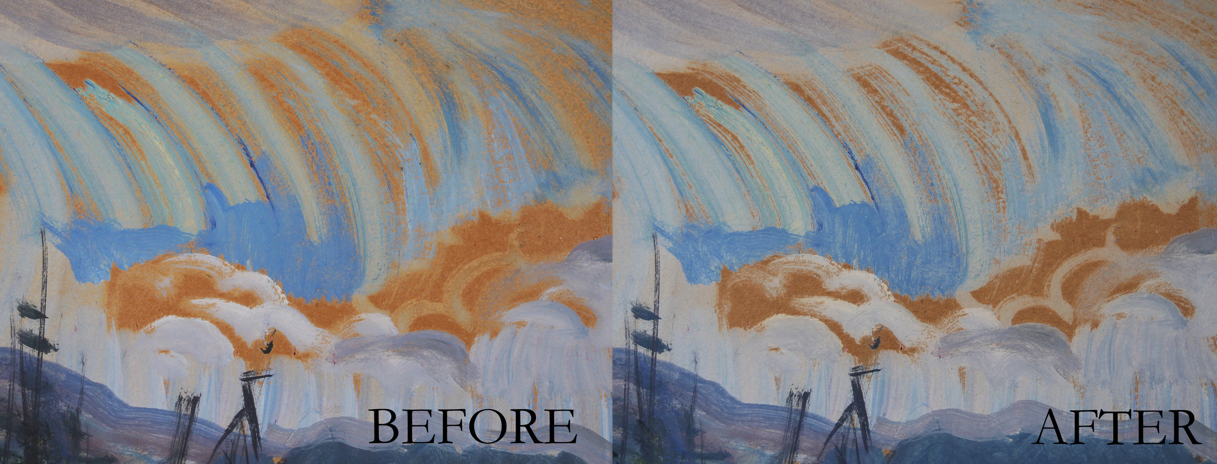 Shore Scene with Sunset,  by Emily Carr  -  detail, before and after conservation treatment. The yellow tinge is removed and the brown paper is back to its original tone.