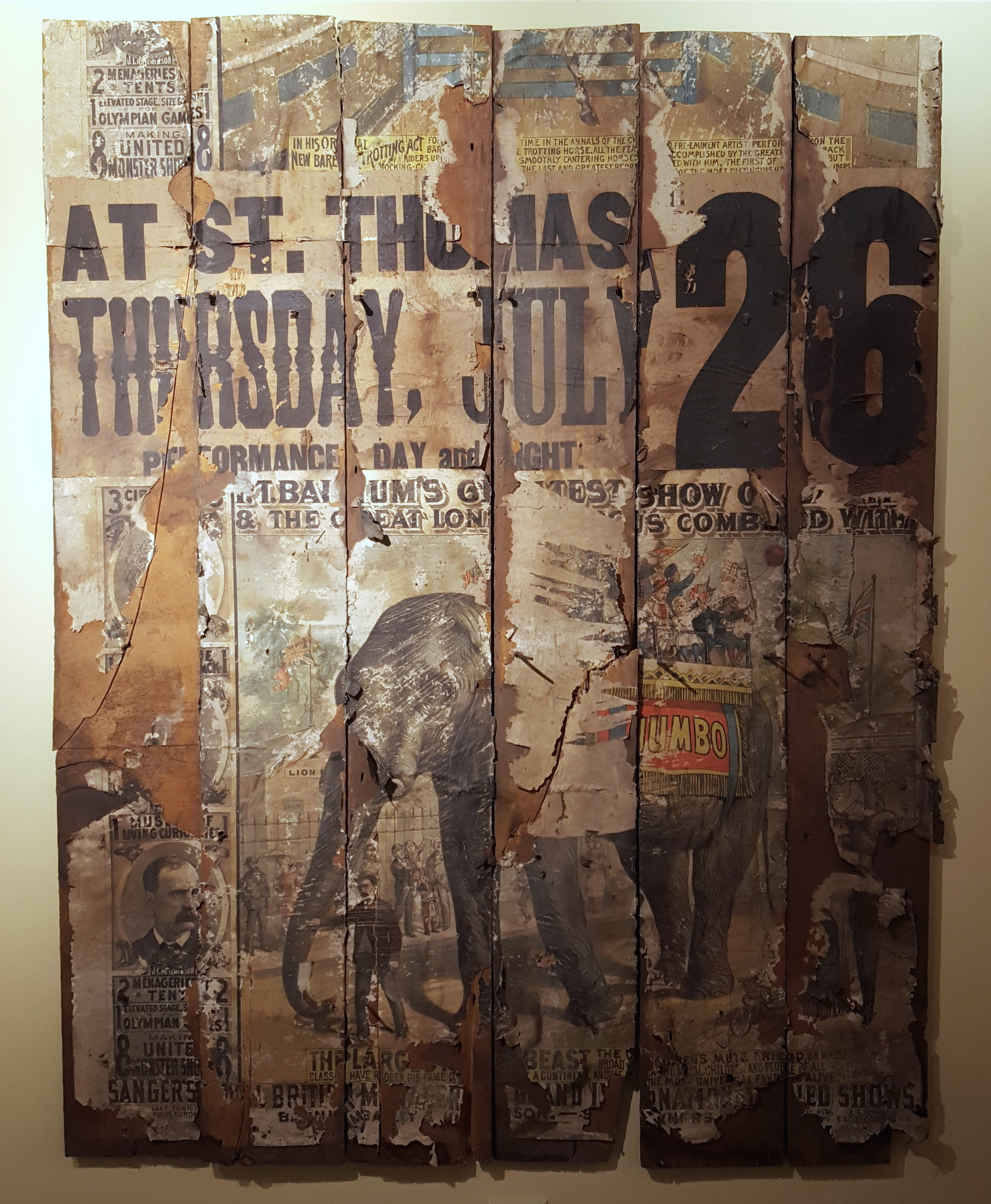 P. T. Barnum Circus posters displayed in the Elgin County Museum, before conservation treatment.