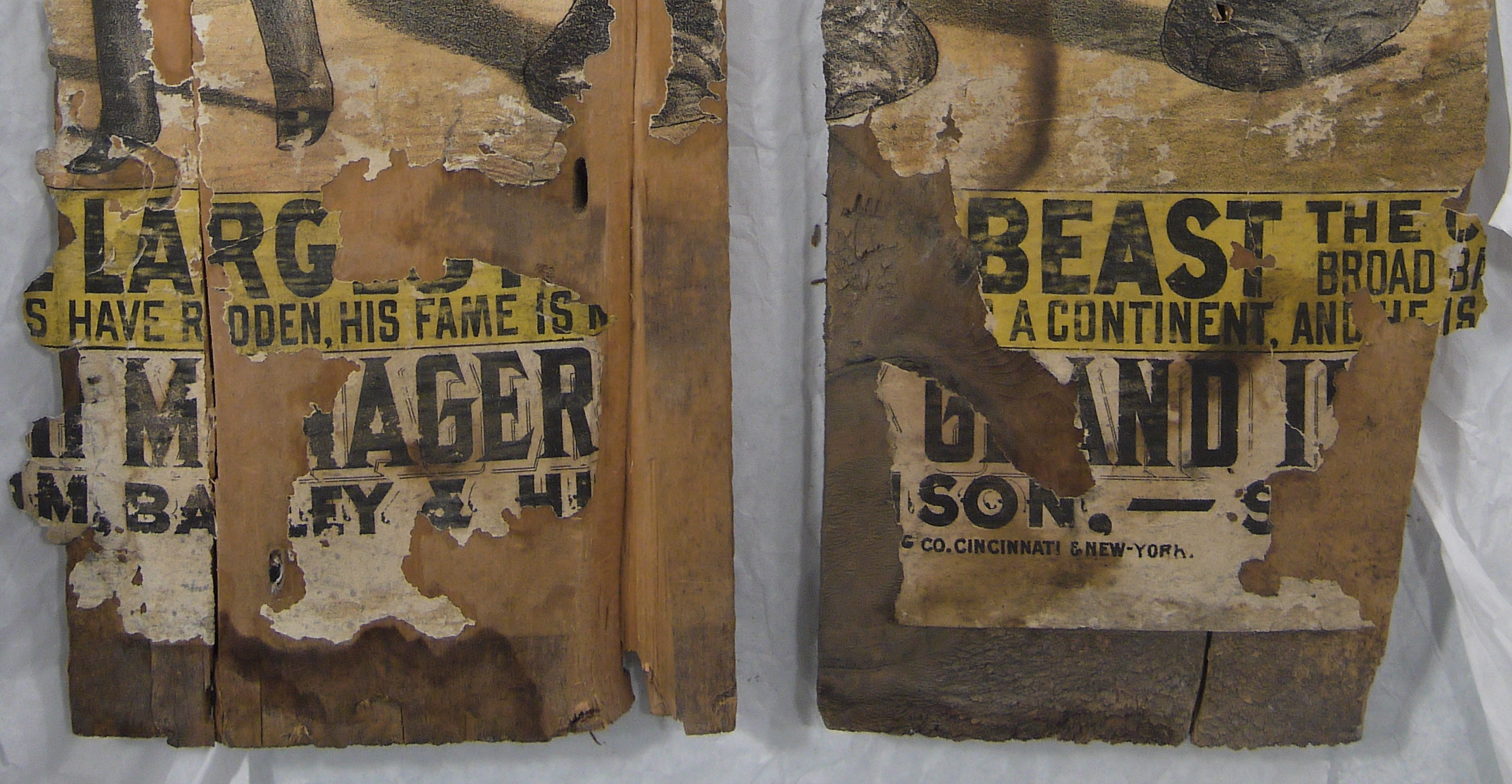 Detail of posters after conservation.