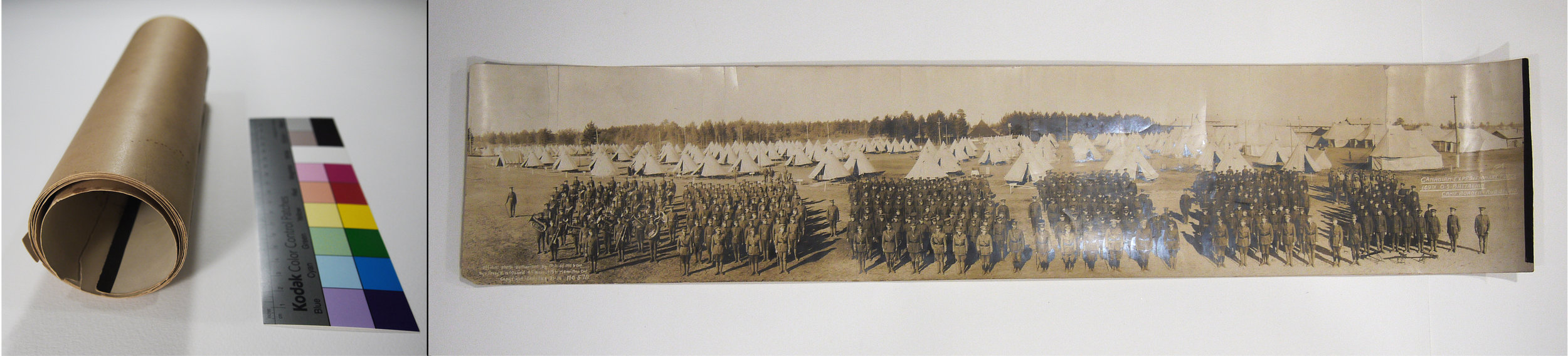 Lambton 149 Battalion, panorama photograph, before and after conservation treatment.