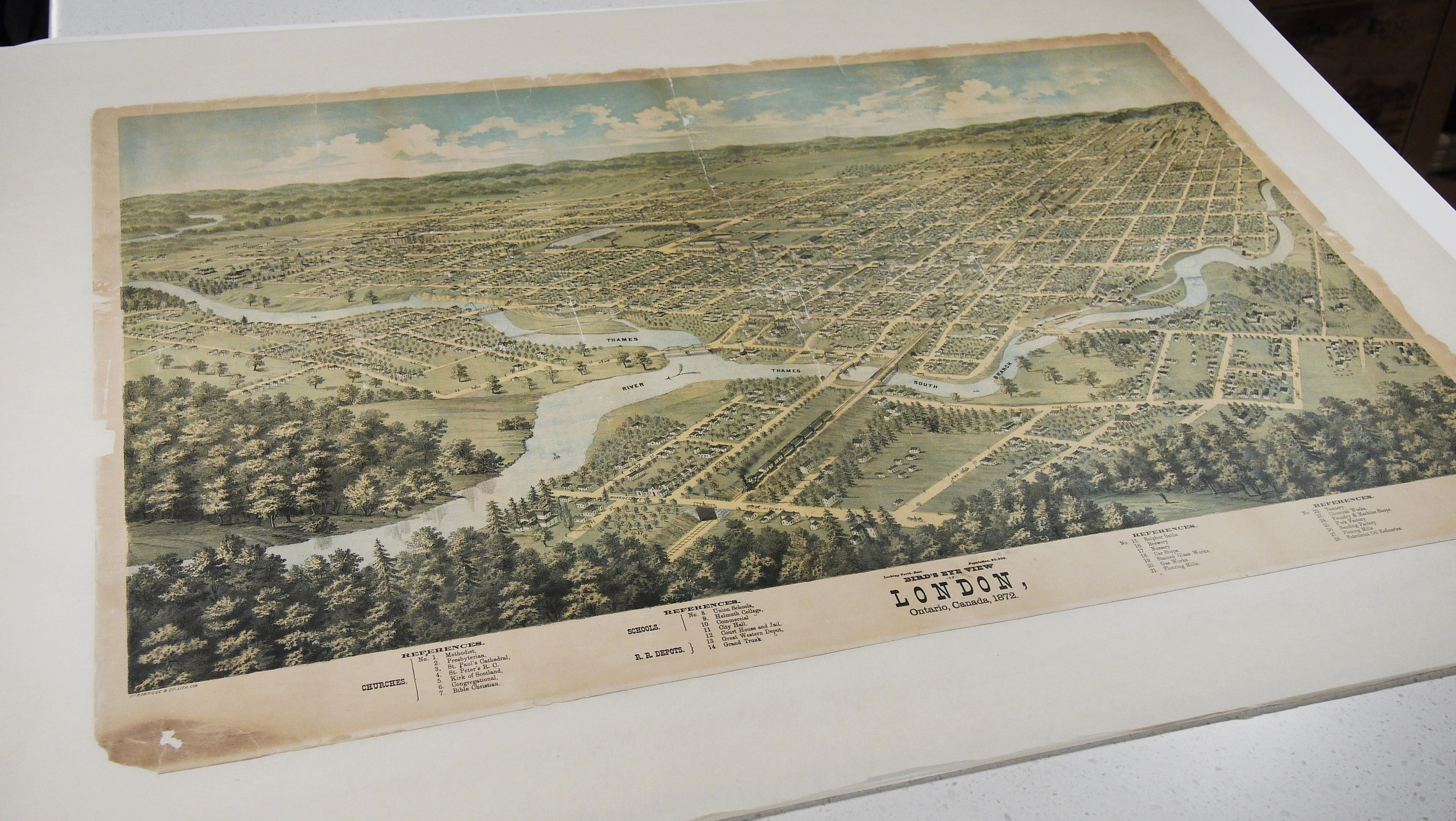 The Bird's Eye View of London, after washing and lining on a stable Japanese paper backing.