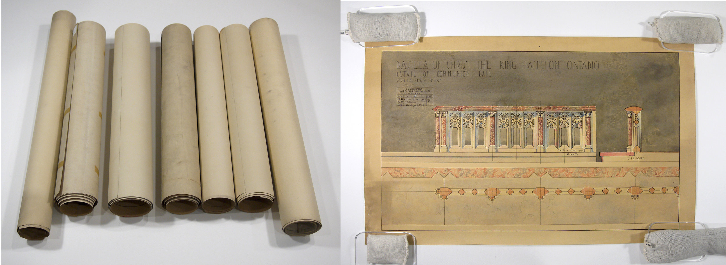 Set of 7 watercolour architectural drawings, tightly rolled before conservation treatment.