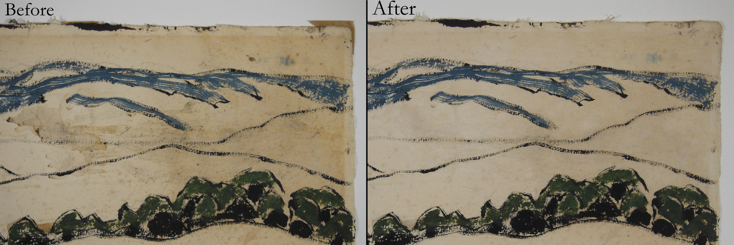 Weed Mines , David Milne, watercolour on paper; stained area before and after conservation.