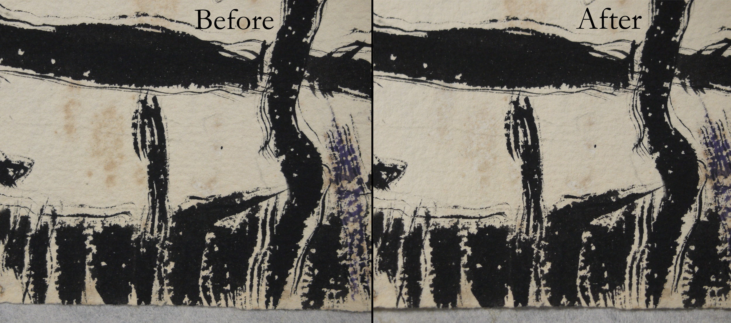 Big Moose , David Milne; staining before and after conservation treatment.