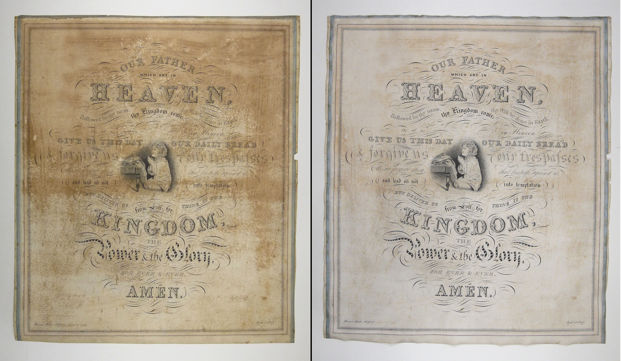 Lord's Prayer  drawing before and after conservation treatment.