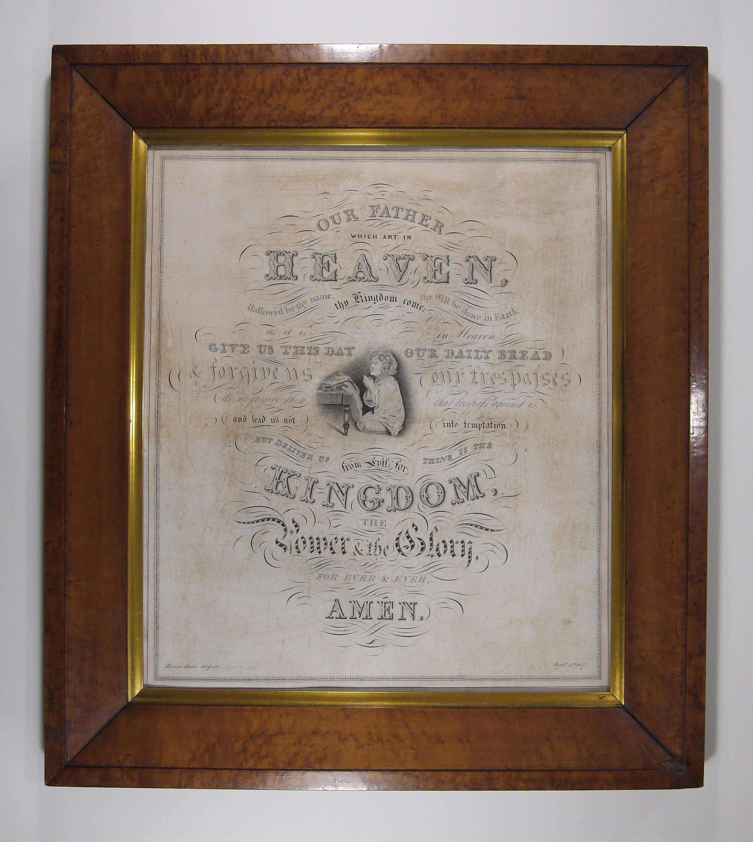 The drawing after conservation treatment, in it's original period frame.