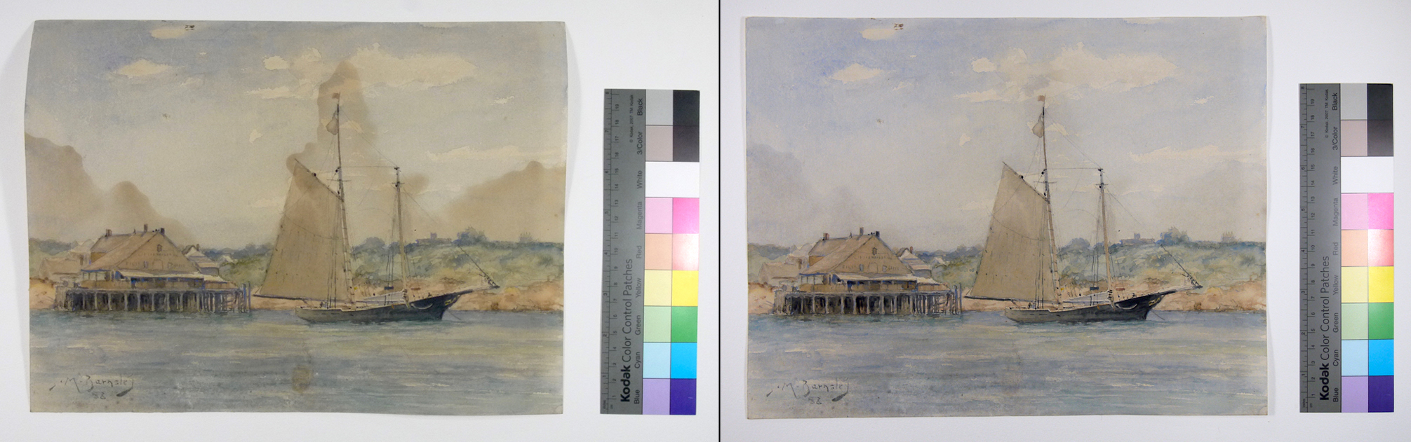 Watercolour painting before and after conservation treatment; brown stains have been removed with washing and bleaching.